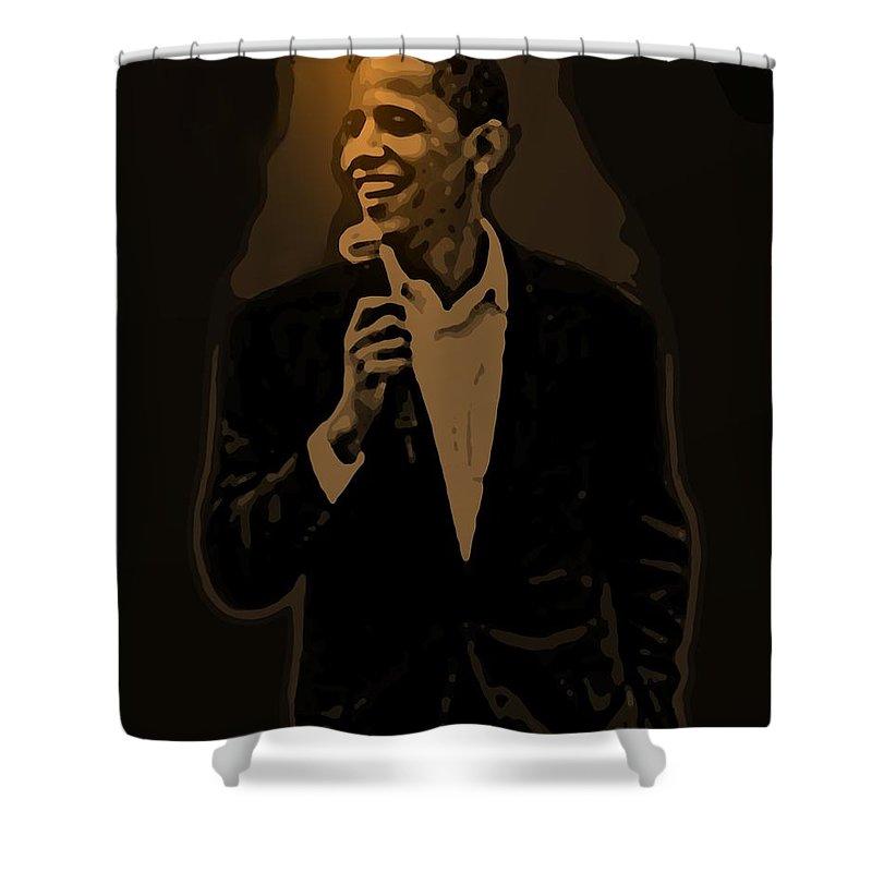 Barack Shower Curtain featuring the digital art Barack Obama by Helmut Rottler