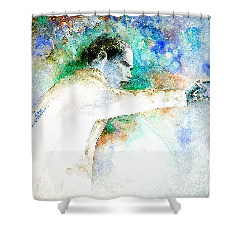 Portrait Barack Obama Shower Curtain featuring the painting Barack Obama Pointing At You by Miki De Goodaboom