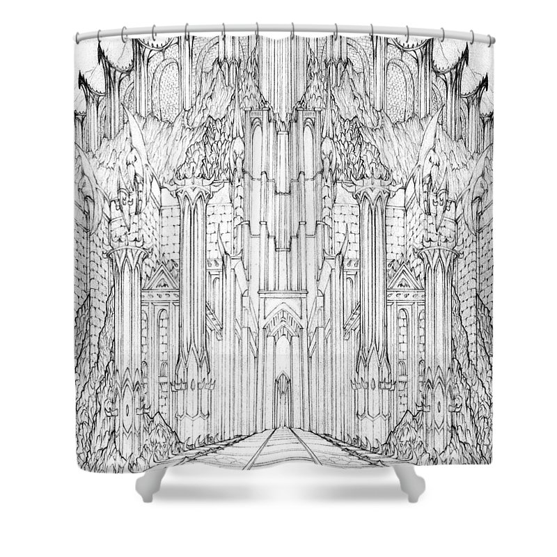 Barad-dur Shower Curtain featuring the drawing Barad-dur Gate Study by Curtiss Shaffer