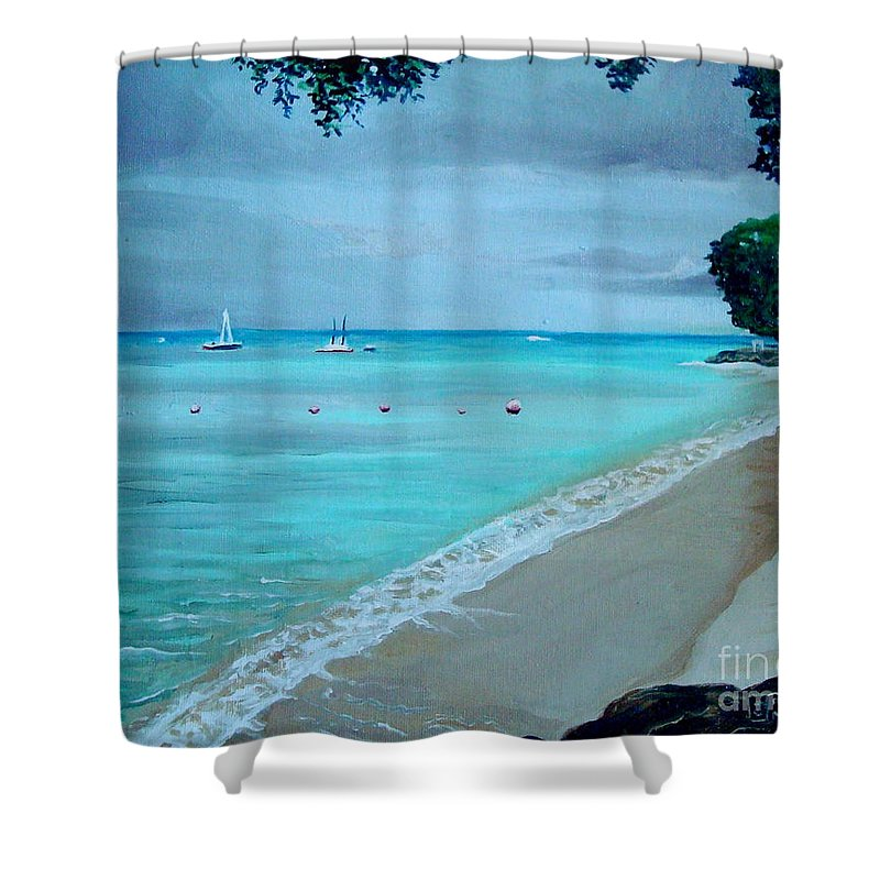 Landscape Shower Curtain featuring the painting Barbados by Elizabeth Robinette Tyndall