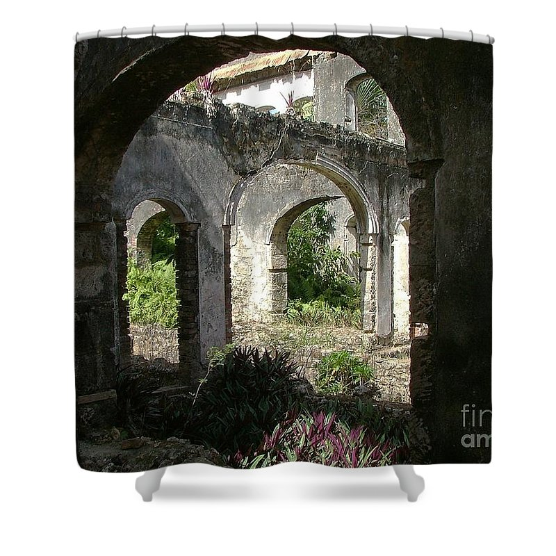 Barbados Shower Curtain featuring the photograph Barbados Ruins by Neil Zimmerman