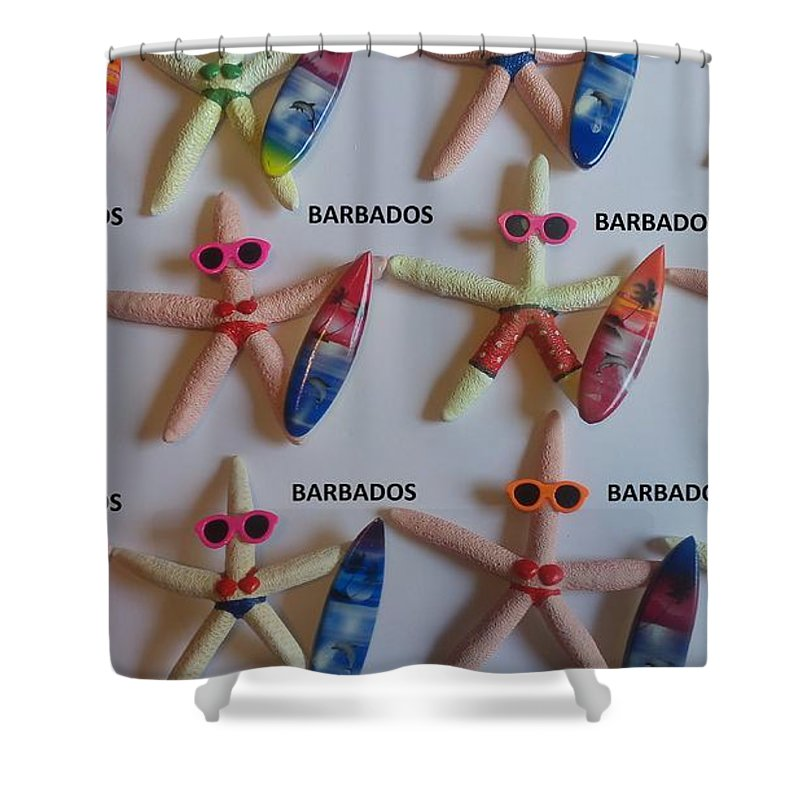 Souvenirs Shower Curtain featuring the photograph Barbados Starfish Surfers by Sterlin Blackman