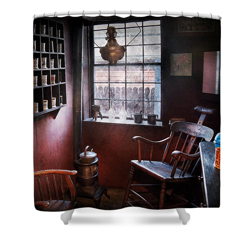 Barber Shower Curtain featuring the photograph Barber - The Country Barber by Mike Savad