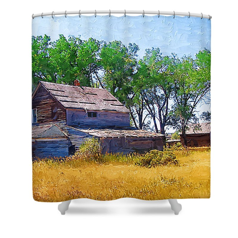 Barber Montana Shower Curtain featuring the photograph Barber Homestead by Susan Kinney