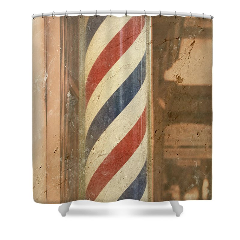 Barber Pole Shower Curtain featuring the photograph Barber Pole by Scott Kwiecinski