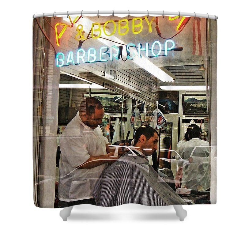 Barber Shower Curtain featuring the photograph Barber Shop by Sarah Loft