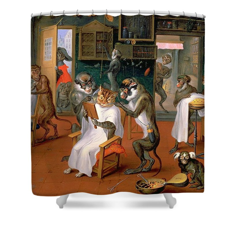 Painting Shower Curtain Featuring The Barbershop With Monkeys And Cats By Mountain Dreams
