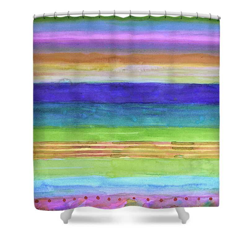 Stripes Shower Curtain featuring the painting Barbies Dream Beach by Heidi Capitaine