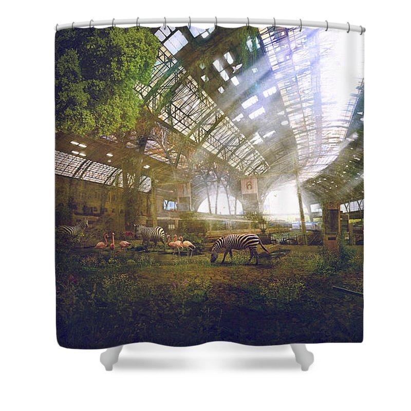 Sciencie Fiction Shower Curtain featuring the painting Barcelona Aftermath Estacio De Franca by Guillem H Pongiluppi