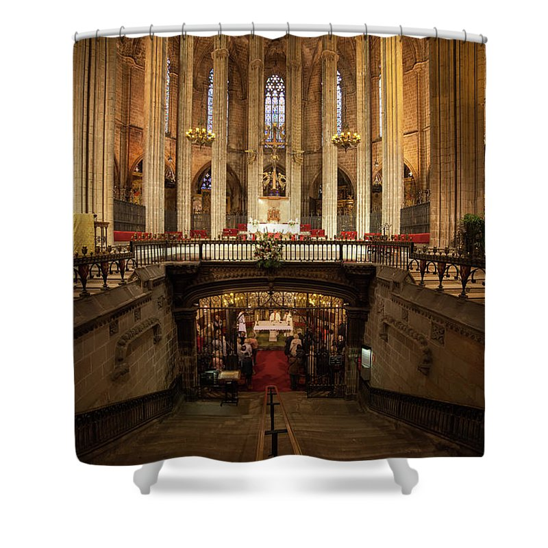 Barcelona Shower Curtain featuring the photograph Barcelona Cathedral High Altar And St Eulalia Crypt by Artur Bogacki