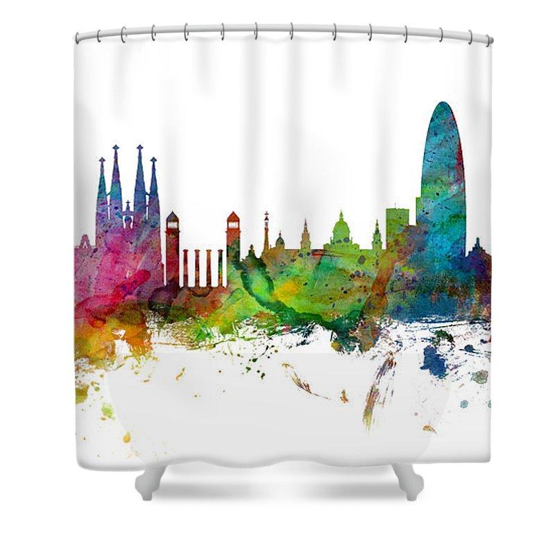 a7ebdb357 Barcelona Spain Skyline Panoramic Shower Curtain for Sale by Michael  Tompsett