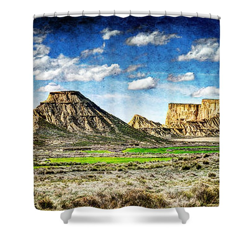 Desert Shower Curtain featuring the photograph Bardenas Desert Panorama 4 - Vintage Version by Weston Westmoreland