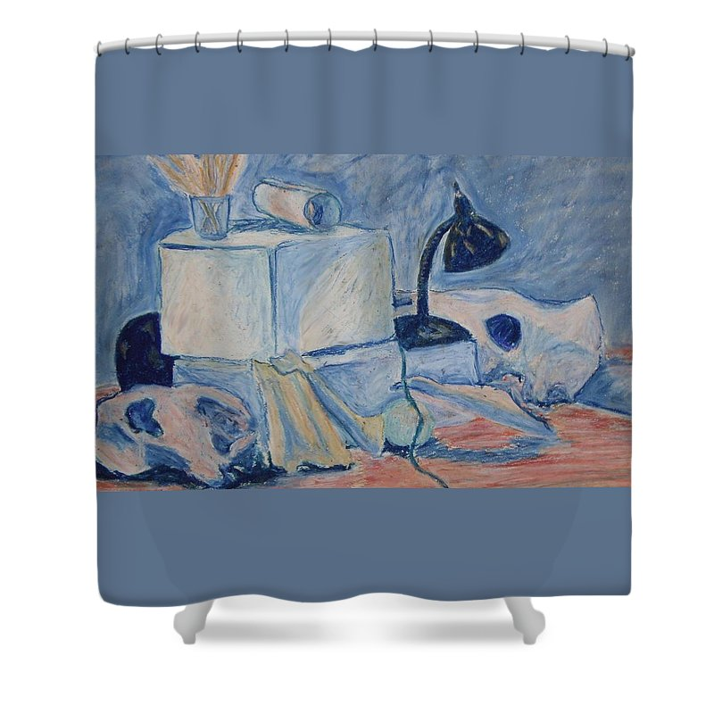 Still Life Shower Curtain featuring the pastel Bare Bones by Jean Haynes