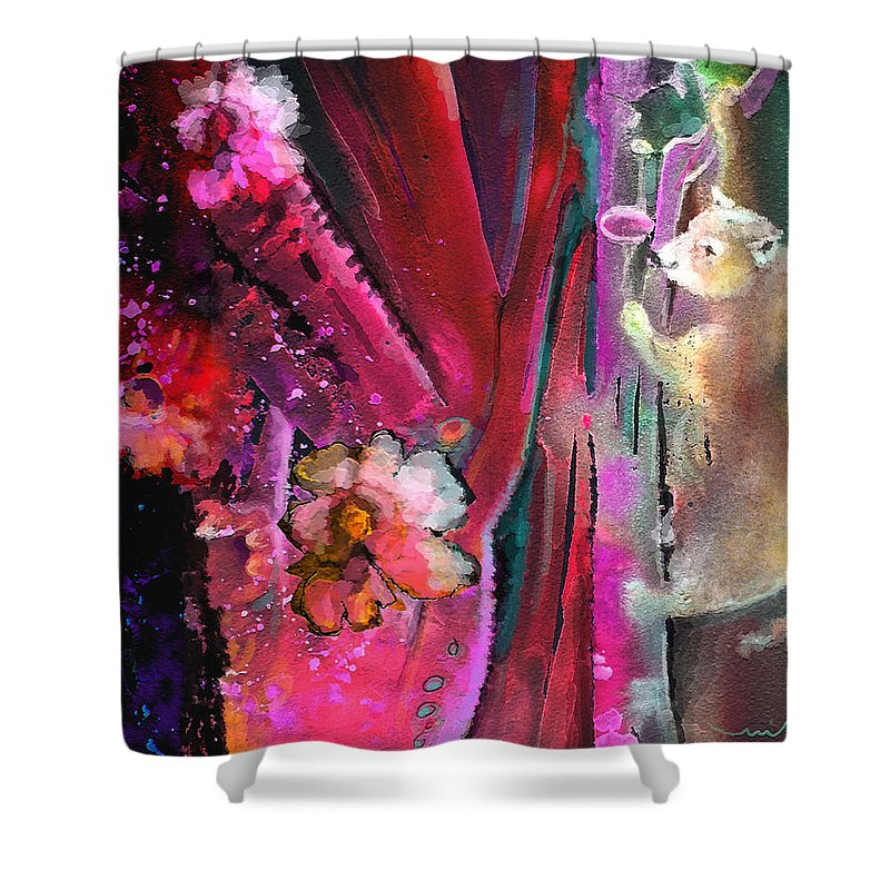 Dream Shower Curtain featuring the painting Bare With Me by Miki De Goodaboom