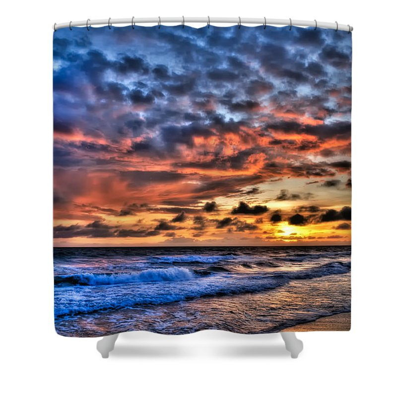 Sunset Shower Curtain featuring the photograph Barefoot Beach Sunset by Rich Leighton