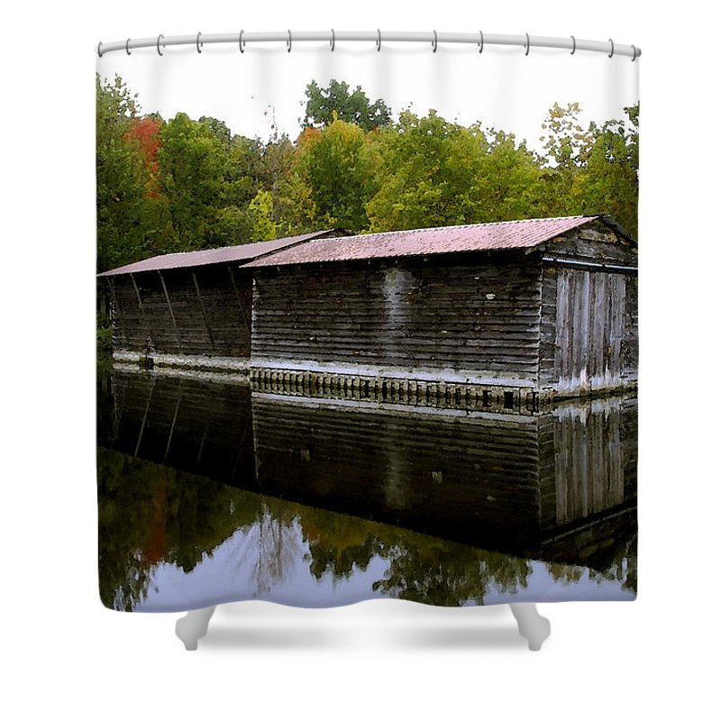 Barge House Shower Curtain featuring the painting Barge House On The Erie Canal by David Lee Thompson
