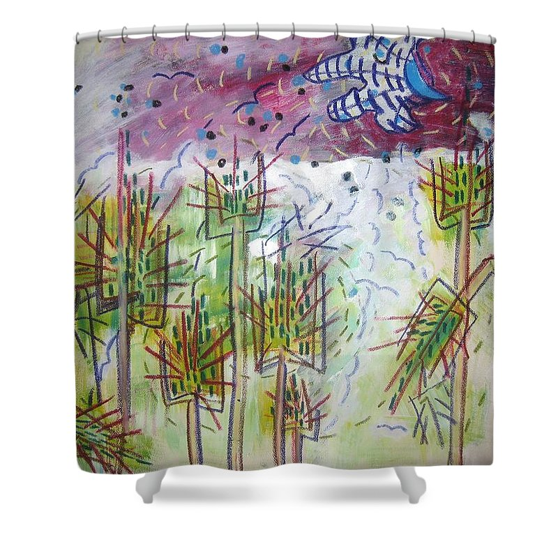 Barly Paintings Shower Curtain featuring the painting Barly And The Blue Moon by Seon-Jeong Kim