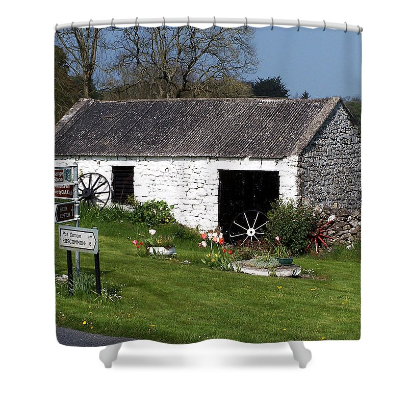 Ireland Shower Curtain featuring the photograph Barn At Fuerty Church Roscommon Ireland by Teresa Mucha