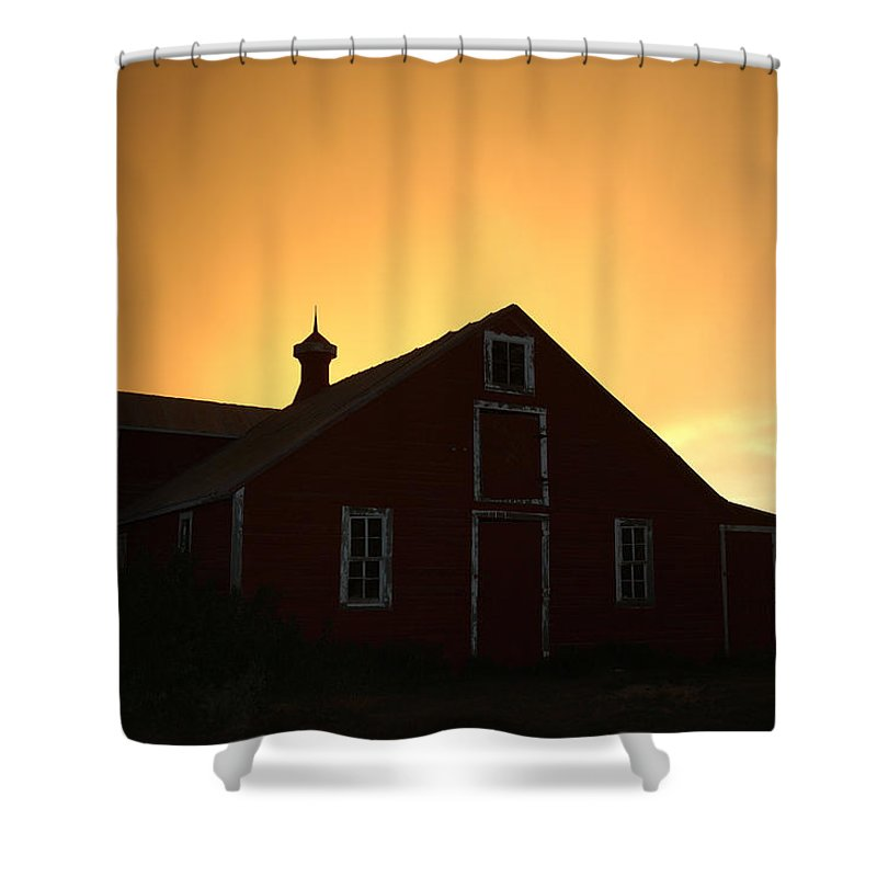 Barn Shower Curtain featuring the photograph Barn At Sunset by Jerry McElroy