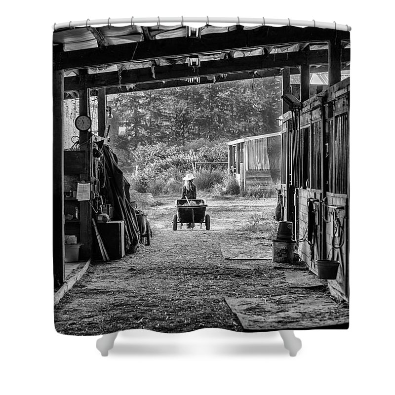 Barns Shower Curtain featuring the photograph Barn Chores by Steven Clark