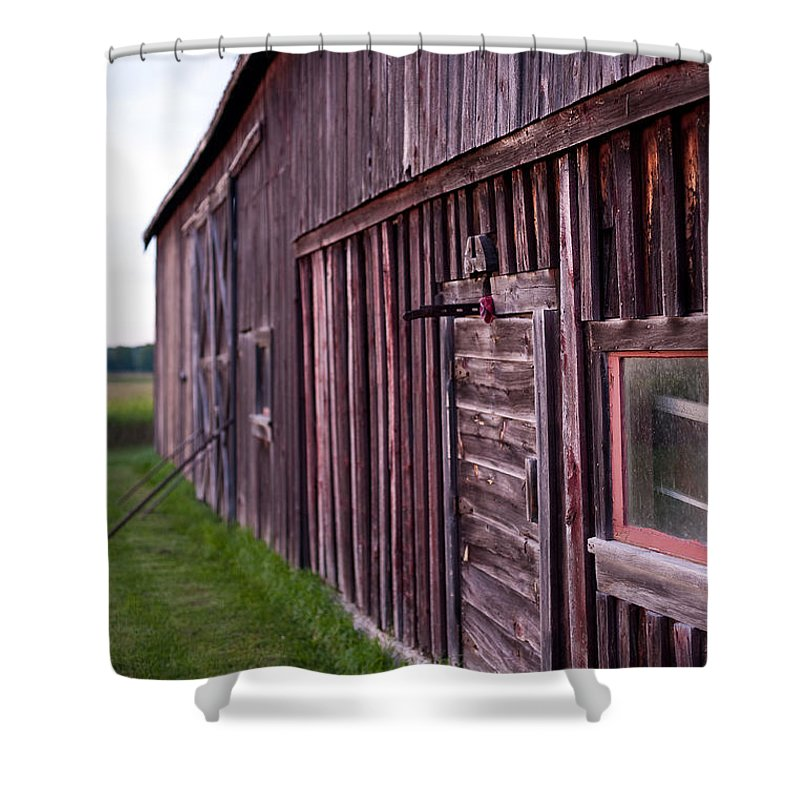 Rustic Shower Curtain featuring the photograph Barn Door Small by Steven Dunn