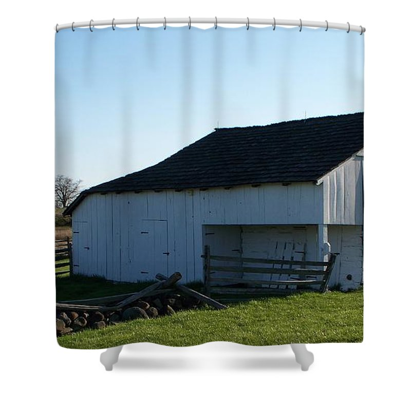 Barn Shower Curtain featuring the painting Barn Gettysburg Battle Field by Eric Schiabor