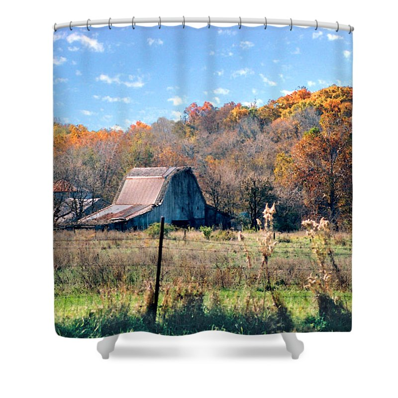 Landscape Shower Curtain featuring the photograph Barn In Liberty Mo by Steve Karol