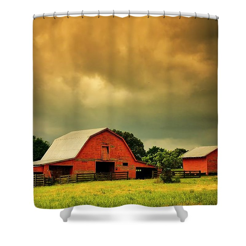 Red Shower Curtain featuring the photograph Barn in the USA, South Carolina by Zayne Diamond Photographic