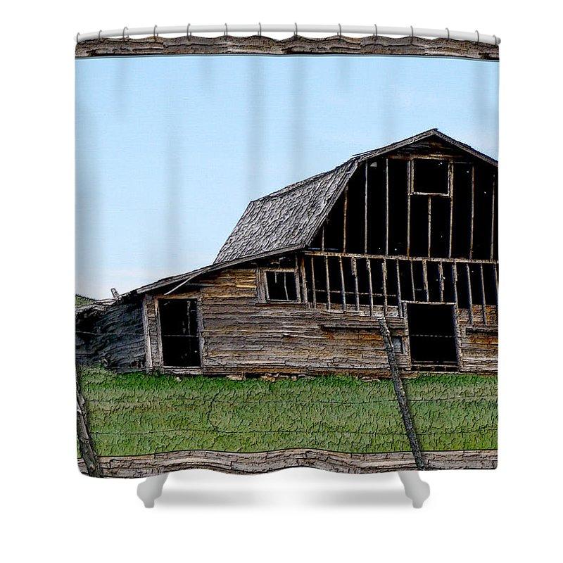 Enhanced Photography Shower Curtain featuring the photograph Barn by Susan Kinney