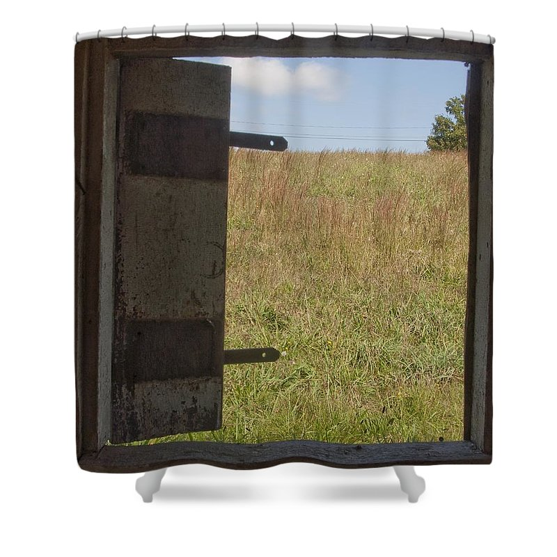 Barn Shower Curtain featuring the photograph Barn Window View by Steven Natanson