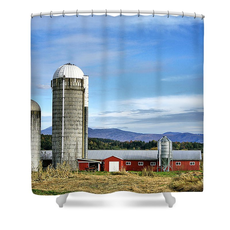 Rural Shower Curtain featuring the Barn With A View by Deborah Benoit