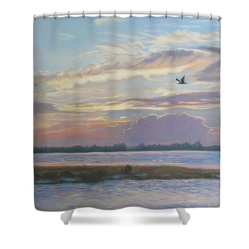 Sunset Painting Shower Curtain featuring the painting Barnegat Bay At Sunset by Lea Novak