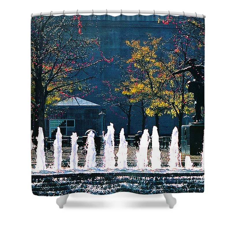 Landscape Shower Curtain featuring the photograph Barney Allis Plaza-kansas City by Steve Karol