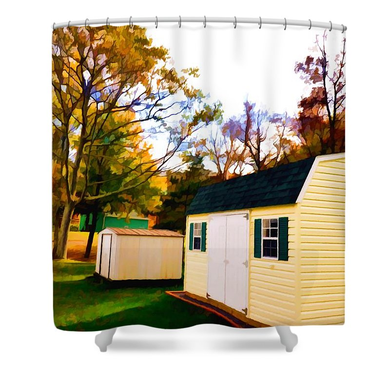 Barns In Autumn Shower Curtain featuring the painting Barns In Autumn by Jeelan Clark