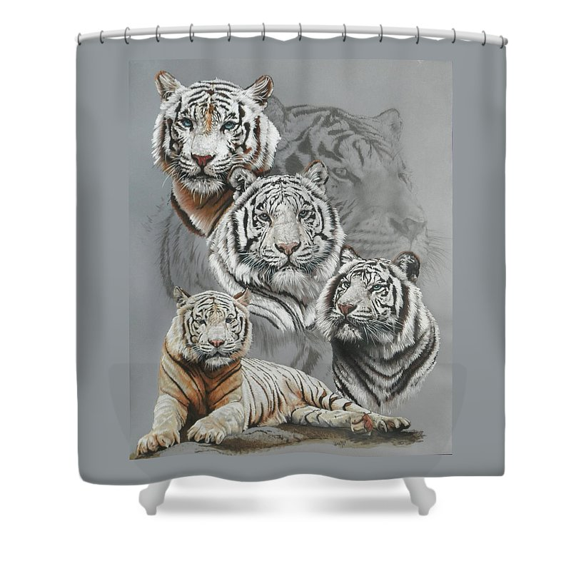 Tiger Shower Curtain featuring the mixed media Baron by Barbara Keith
