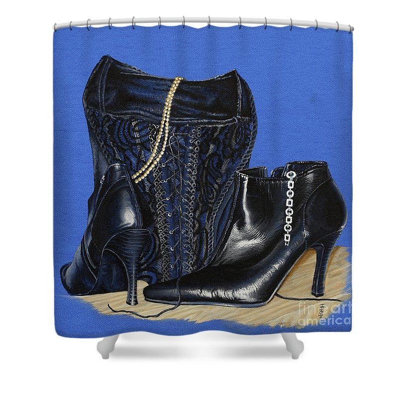 Baroque Still Life Boots Pearls Basque Bracelet Velvet Lace Black Heels Shower Curtain featuring the painting Baroque Still Life by Pauline Sharp