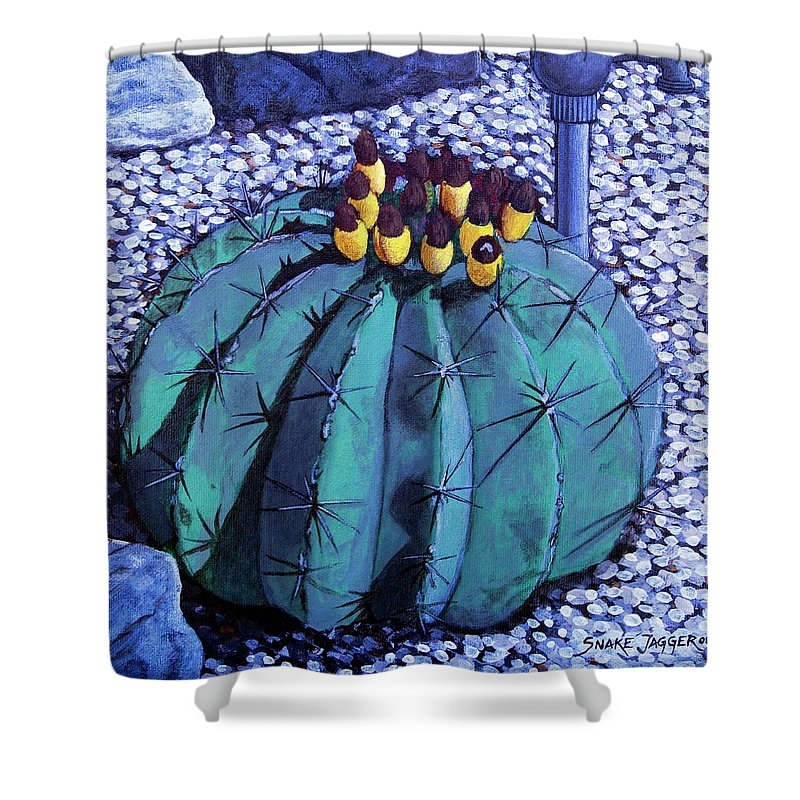 Nature Shower Curtain featuring the painting Barrel buds by Snake Jagger