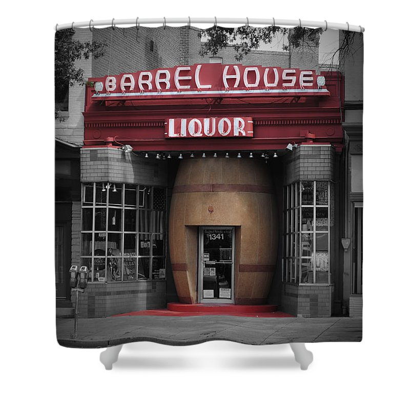 Barrel Shower Curtain featuring the photograph Barrel House Liquor Store by Jost Houk
