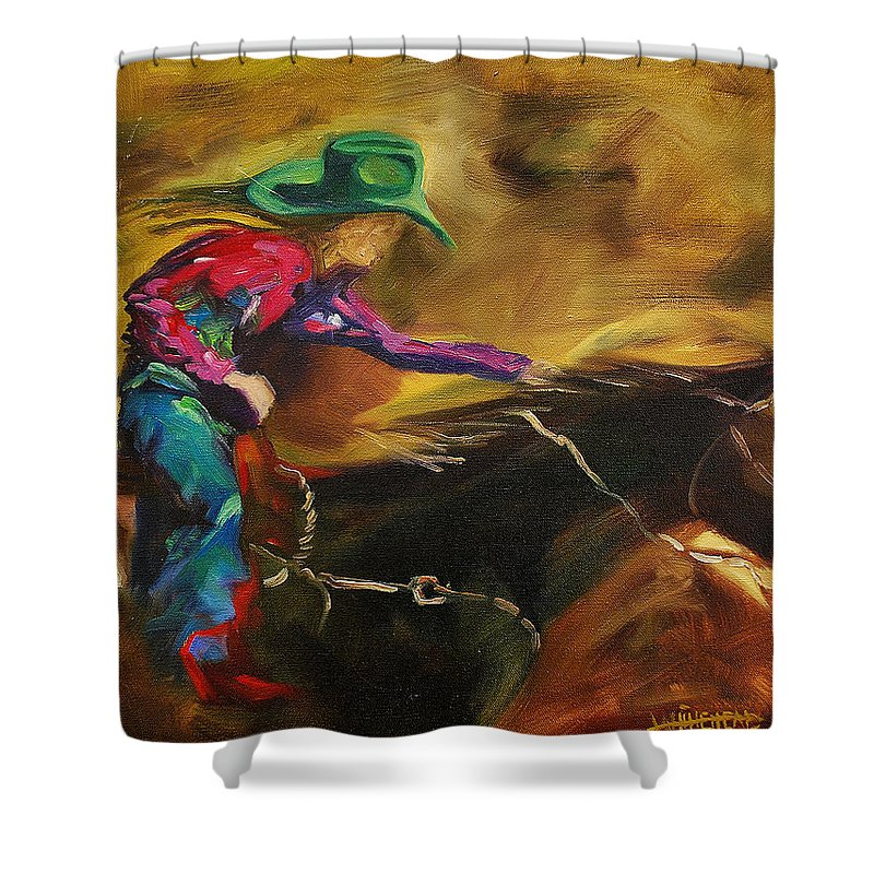 Western Art Shower Curtain featuring the painting Barrel Racer by Diane Whitehead