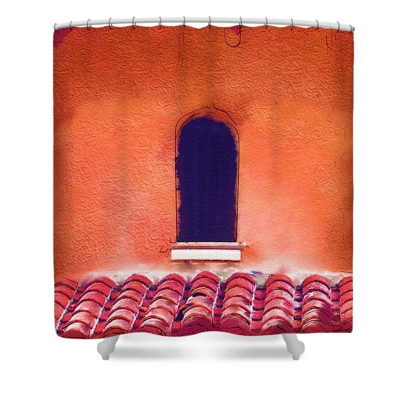 Mizner Shower Curtain featuring the digital art Barrel Tile by Nora Martinez