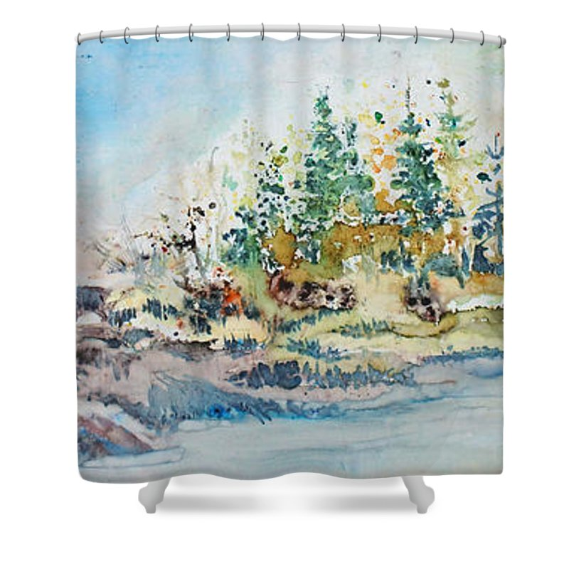 Landscape Shower Curtain featuring the painting Barrier Bay by Joanne Smoley