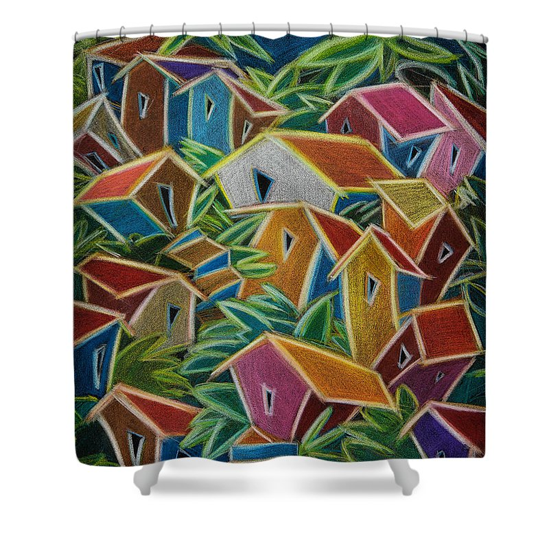 Landscape Shower Curtain featuring the painting Barrio Lindo by Oscar Ortiz