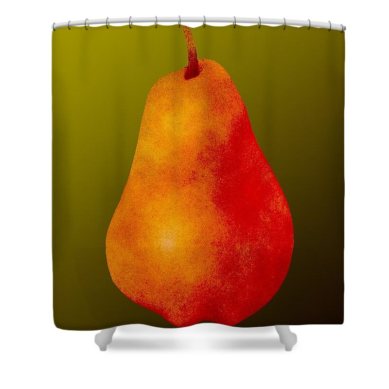 Pear Shower Curtain featuring the painting Bartlett Pear by Kathy Moon