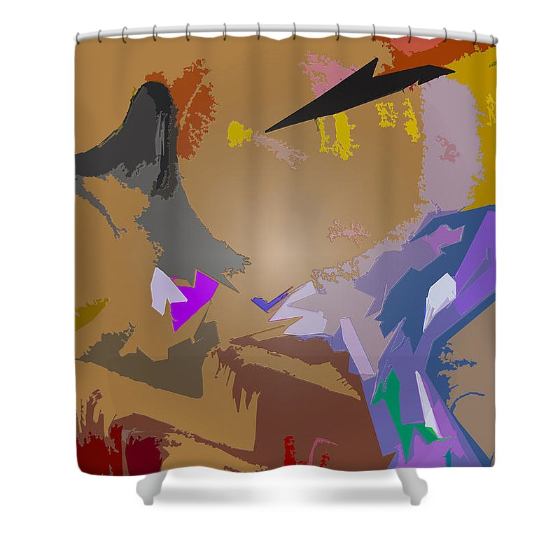 Abstract Circle Art Shower Curtain featuring the painting Base Camp by Robert Margetts