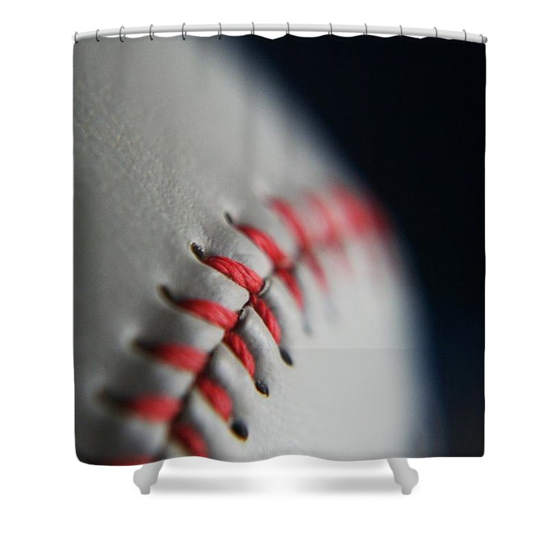 Photograph Shower Curtain featuring the photograph Baseball Fan by Rachelle Johnston