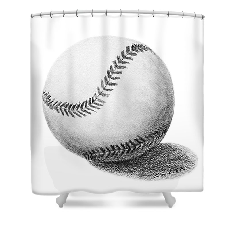 Baseball Shower Curtain Featuring The Drawing By Michael Malta