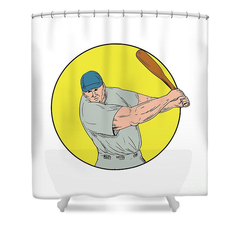 Drawing Shower Curtain featuring the digital art Baseball Player Swinging Bat Drawing by Aloysius Patrimonio