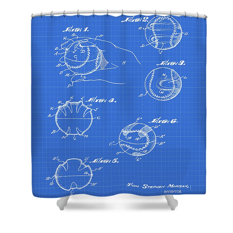 Baseball Shower Curtain featuring the photograph Baseball Training Device Patent 1961 Blueprint by Bill Cannon