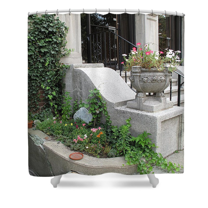 Garden Shower Curtain featuring the photograph Basement Entry Garden by Barbara McDevitt