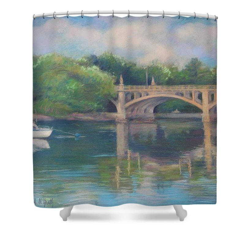 Mcgrath Shower Curtain featuring the painting Basiliere Bridge Haverhill Ma by Leslie Alfred McGrath